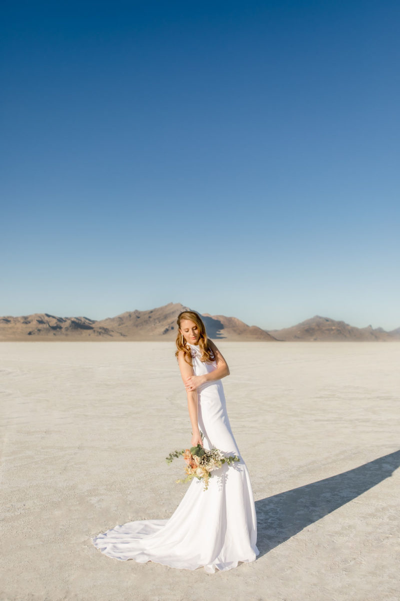 Simple Elegant Modern Goli June Brighton Wedding Dress Victoria Chukarov Salt Flats Utah 1