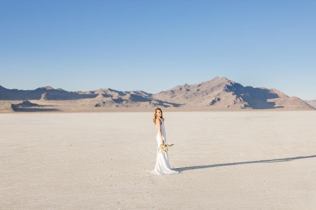 Simple Elegant Modern Goli June Brighton Wedding Dress Victoria Chukarov Salt Flats Utah 10