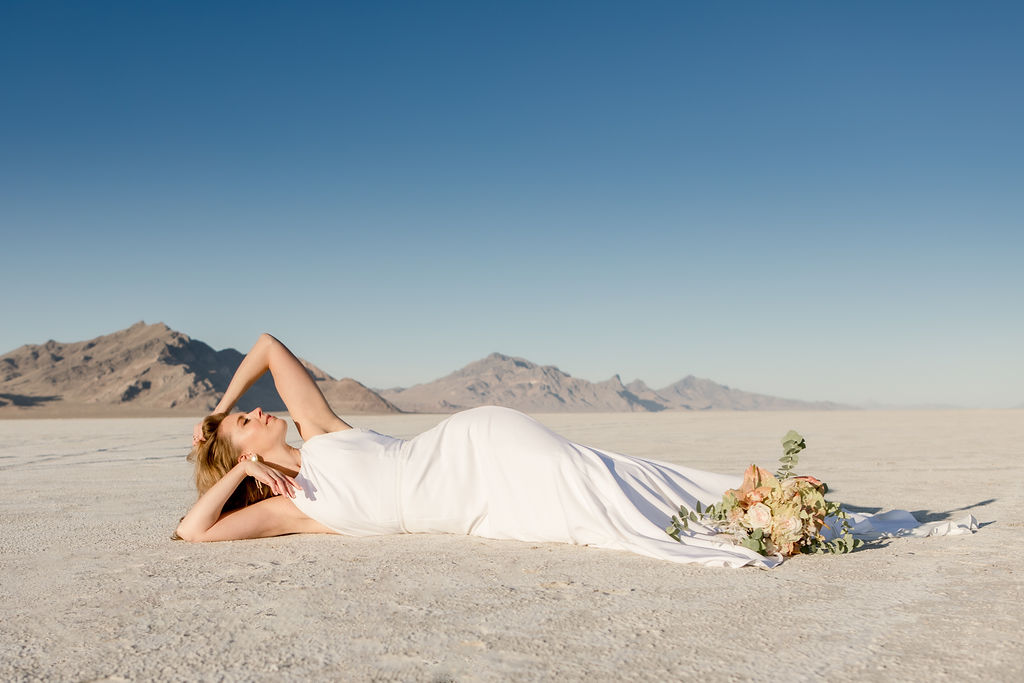 Simple Elegant Modern Goli June Brighton Wedding Dress Victoria Chukarov Salt Flats Utah 11