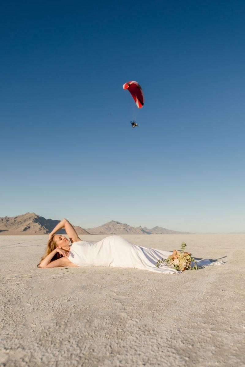 Simple Elegant Modern Goli June Brighton Wedding Dress Victoria Chukarov Salt Flats Utah 13