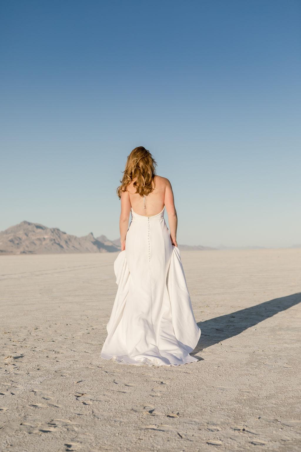Simple Elegant Modern Goli June Brighton Wedding Dress Victoria Chukarov Salt Flats Utah 15