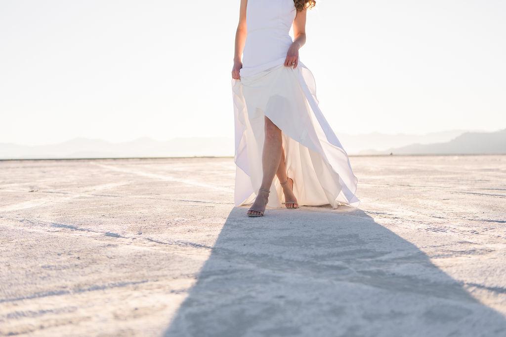 Simple Elegant Modern Goli June Brighton Wedding Dress Victoria Chukarov Salt Flats Utah 16