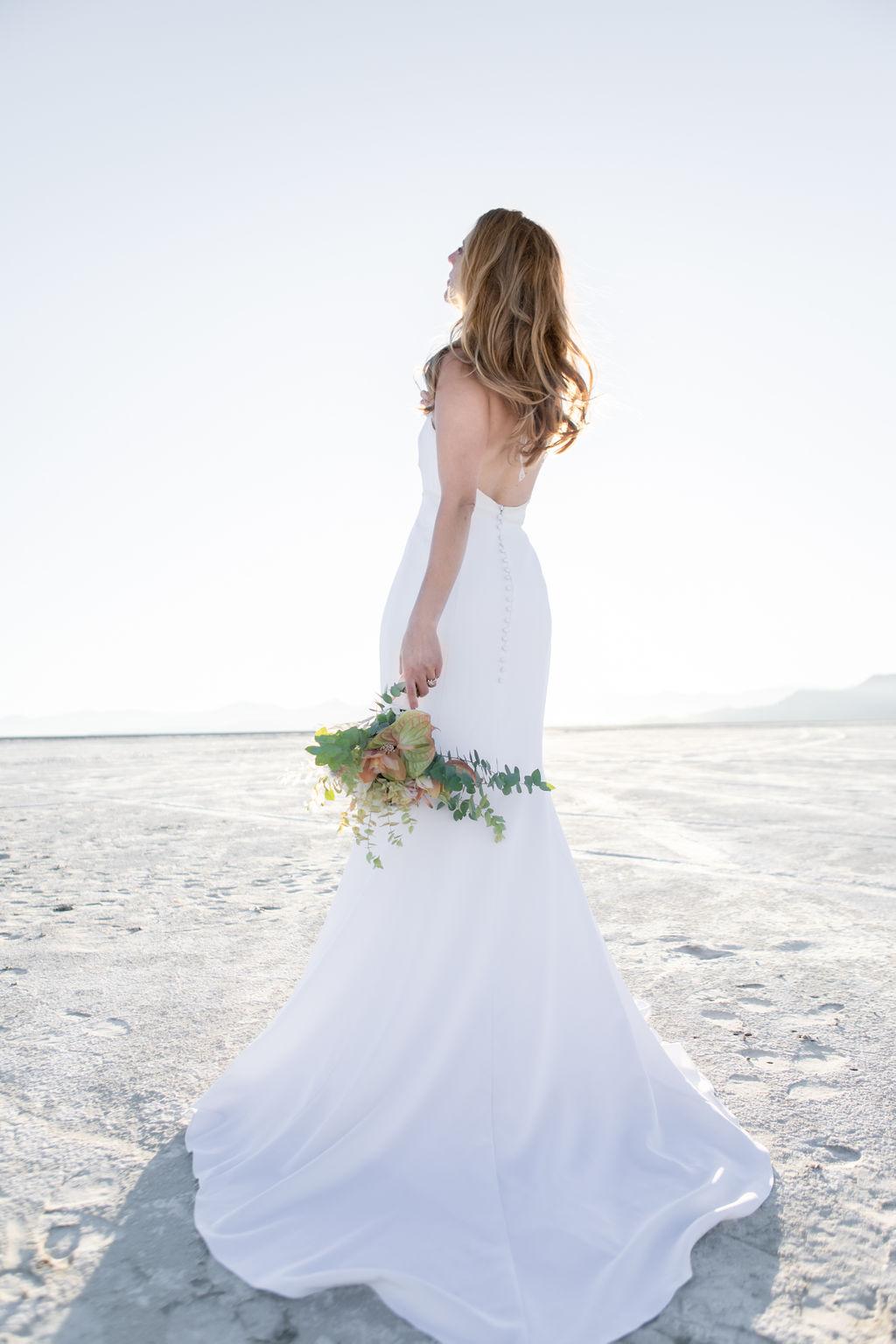 Simple Elegant Modern Goli June Brighton Wedding Dress Victoria Chukarov Salt Flats Utah 18