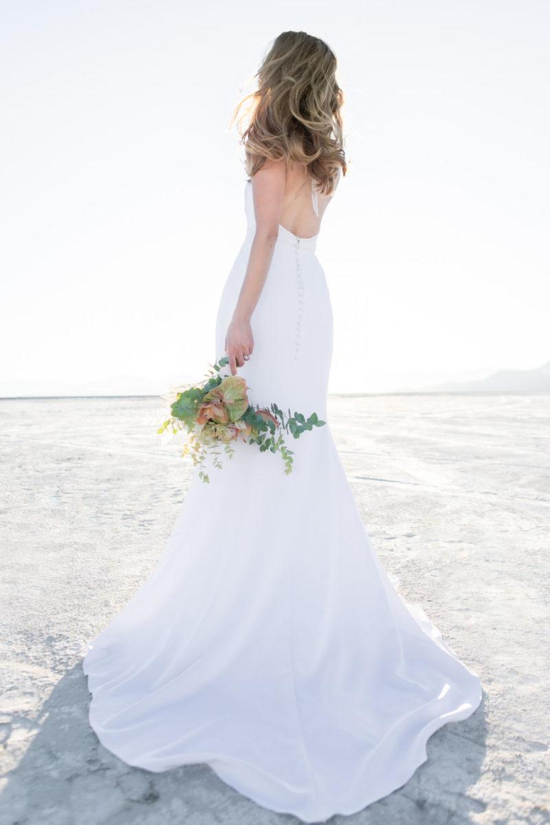 Simple Elegant Modern Goli June Brighton Wedding Dress Victoria Chukarov Salt Flats Utah 19