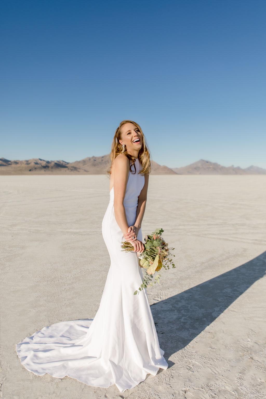 Simple Elegant Modern Goli June Brighton Wedding Dress Victoria Chukarov Salt Flats Utah 2