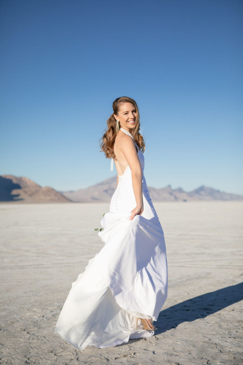 Simple Elegant Modern Goli June Brighton Wedding Dress Victoria Chukarov Salt Flats Utah 3