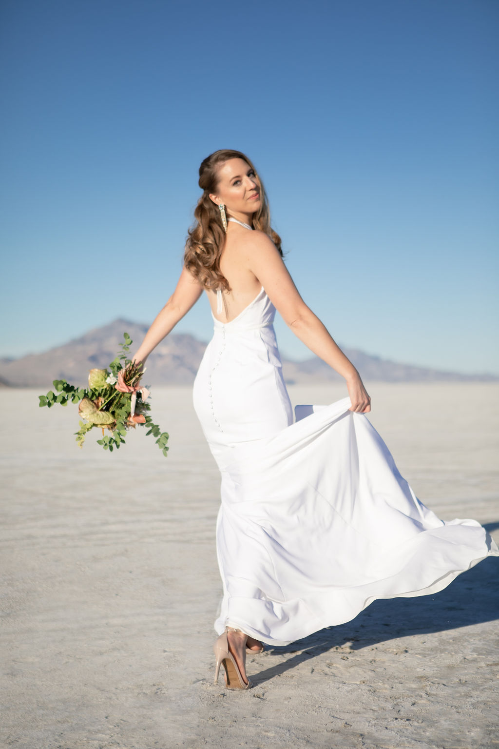 Simple Elegant Modern Goli June Brighton Wedding Dress Victoria Chukarov Salt Flats Utah 4