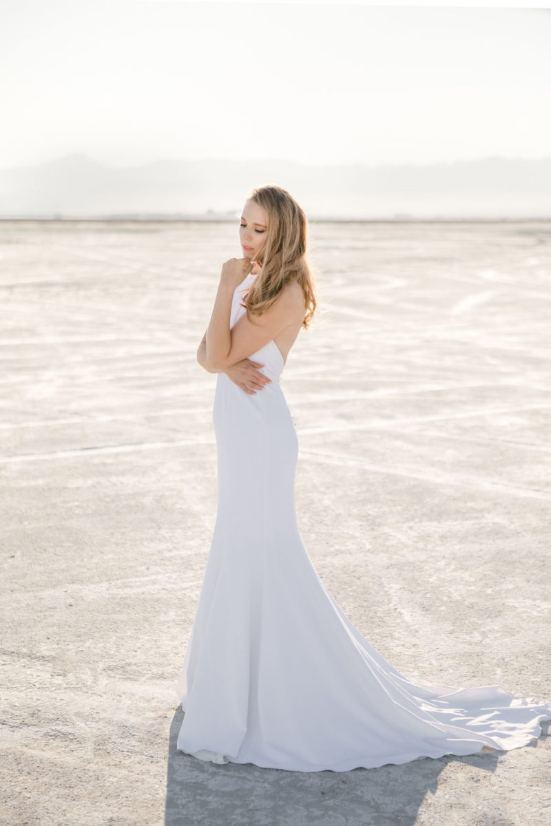 Simple Elegant Modern Goli June Brighton Wedding Dress Victoria Chukarov Salt Flats Utah 5