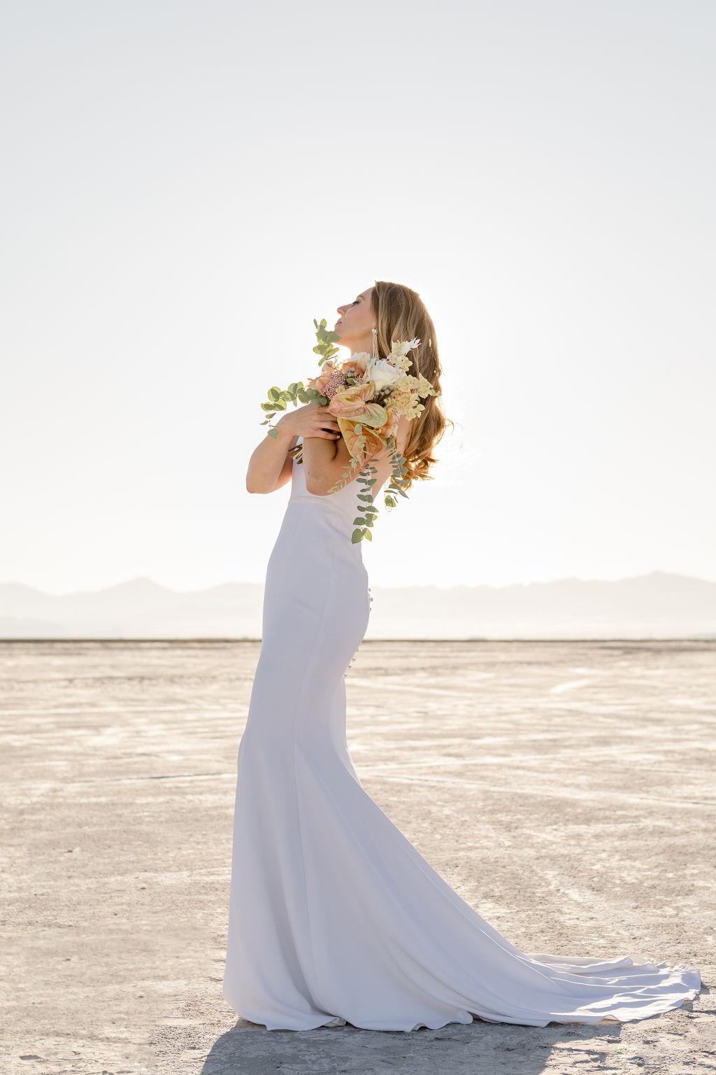 Simple Elegant Modern Goli June Brighton Wedding Dress Victoria Chukarov Salt Flats Utah 7