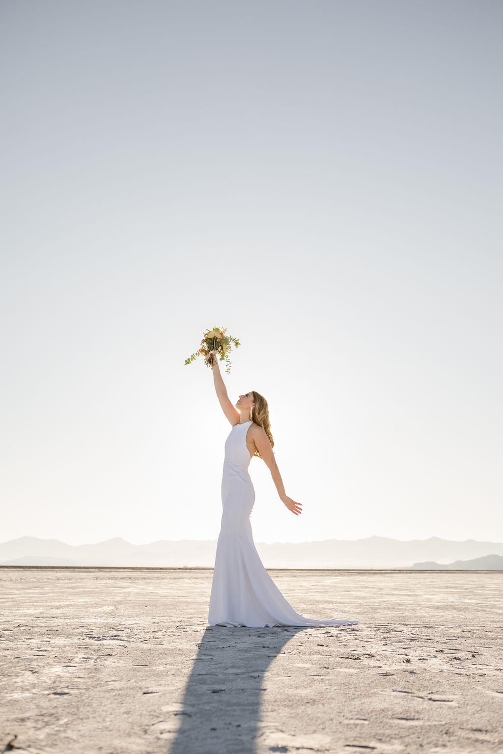 Simple Elegant Modern Goli June Brighton Wedding Dress Victoria Chukarov Salt Flats Utah 8