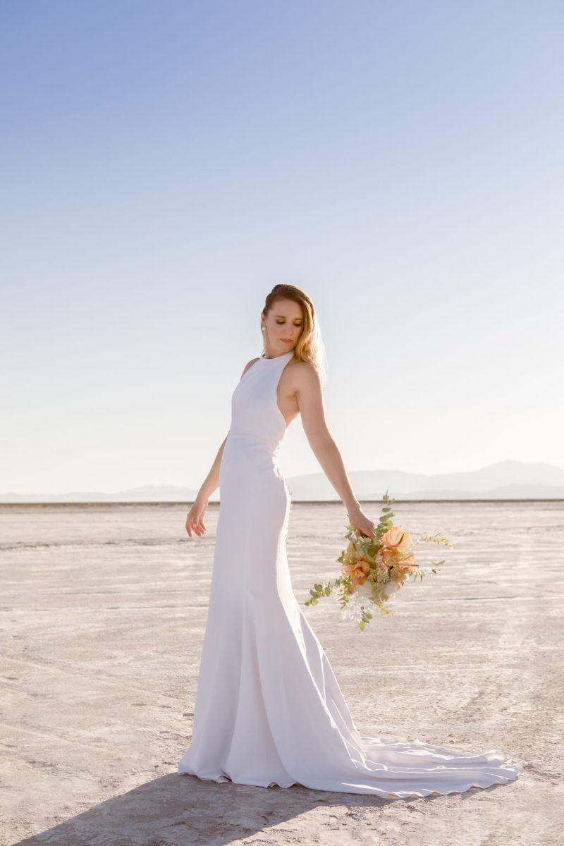 Simple Elegant Modern Goli June Brighton Wedding Dress Victoria Chukarov Salt Flats Utah 9