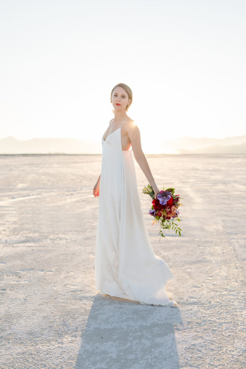 Simple Elegant Modern Goli June Luca Wedding Dress Victoria Chukarov Salt Flats Utah 18
