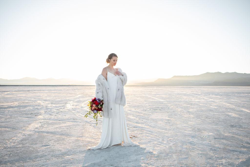 Simple Elegant Modern Goli June Luca Wedding Dress Victoria Chukarov Salt Flats Utah 22