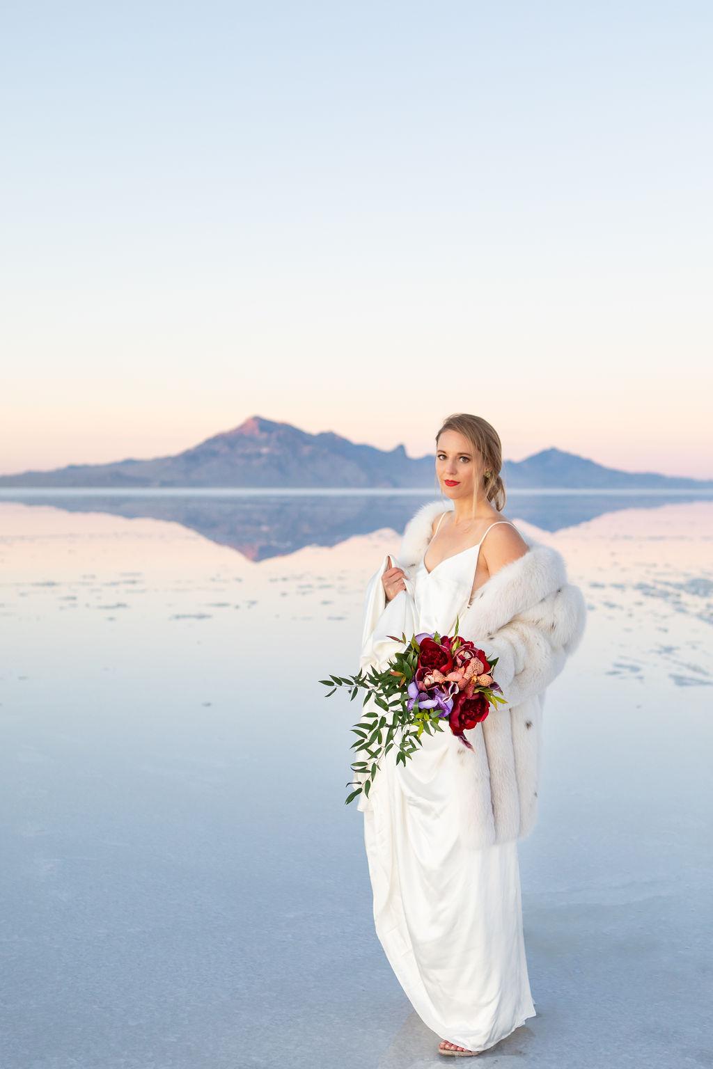 Simple Elegant Modern Goli June Luca Wedding Dress Victoria Chukarov Salt Flats Utah 23