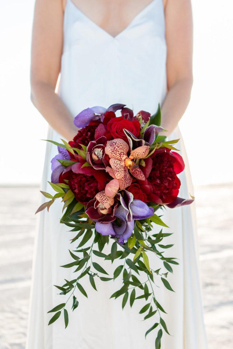 Simple Elegant Modern Red Floral Wedding Bouquet Victoria Chukarov Salt Flats Utah1