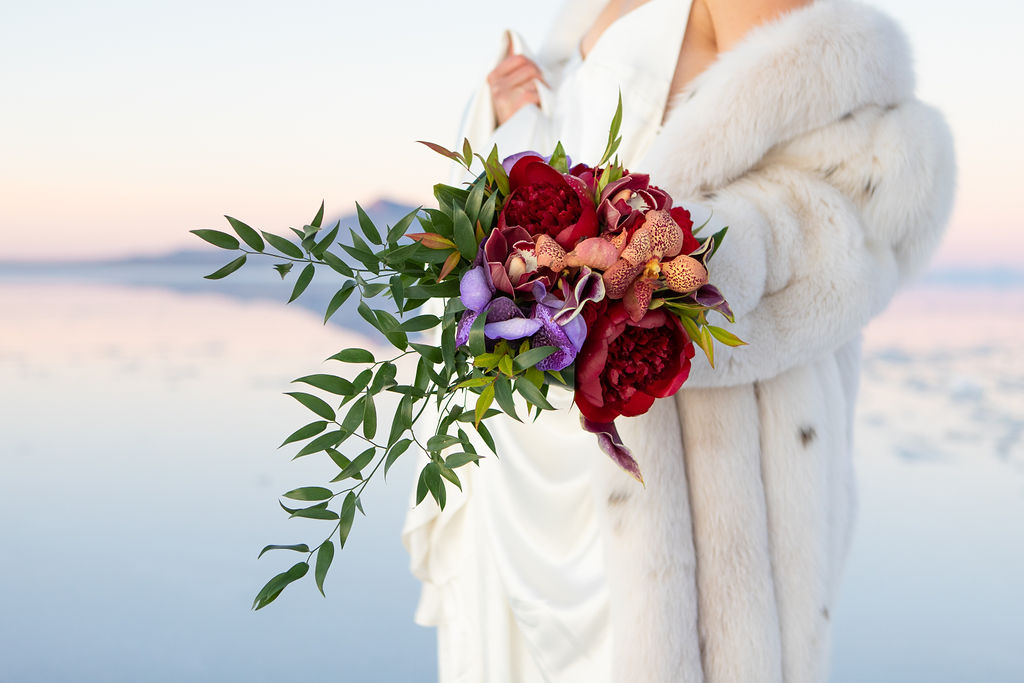 Simple Elegant Modern Red Floral Wedding Bouquet Victoria Chukarov Salt Flats Utah2