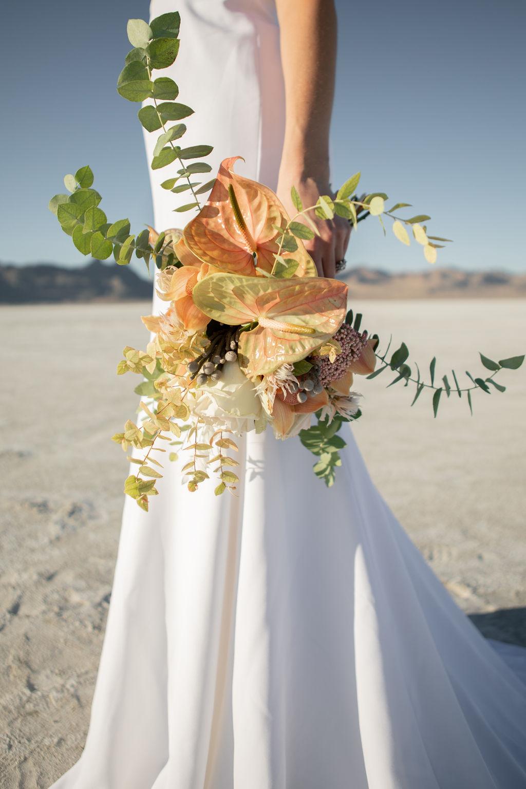 Simple Elegant Modern Wild Pastel Wedding Bouquet Victoria Chukarov Salt Flats Utah