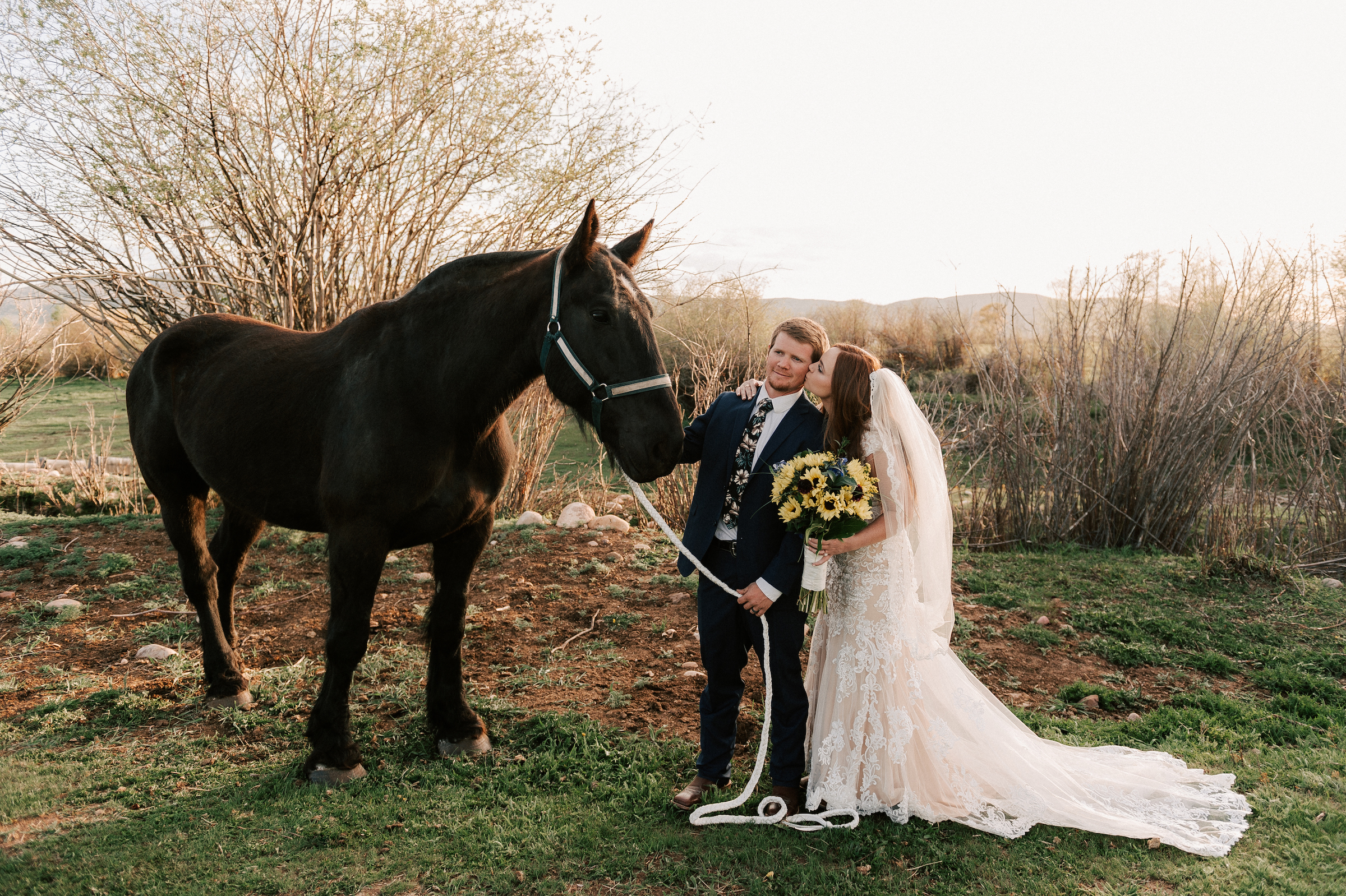 Classic Wedding Dress Cowboy Boots Horse Ranch Tew Treasures Photography 4
