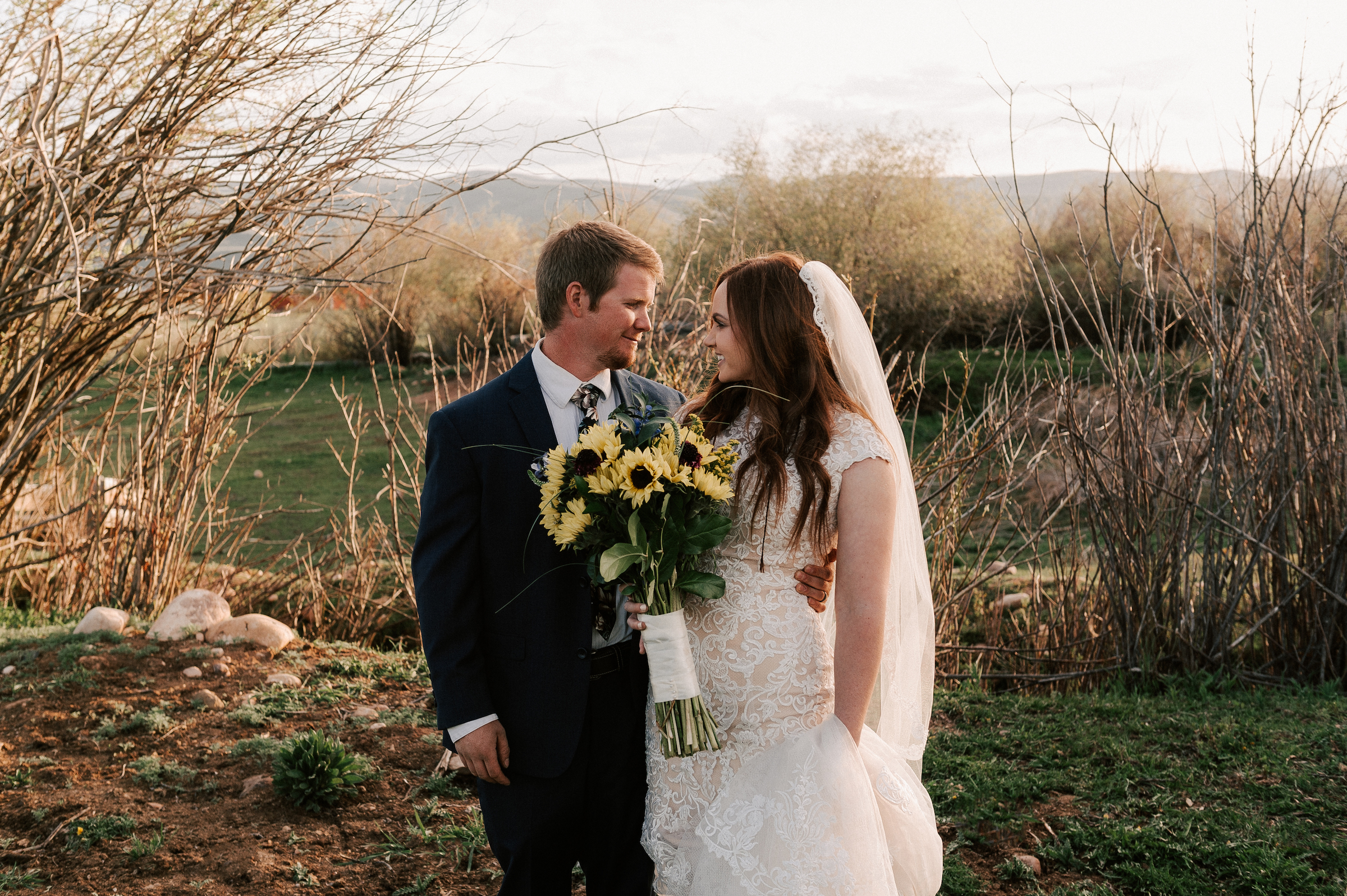 Sunflower Wedding Bouquet Classic Dress Horse Ranch Tew Treasures Photography 3