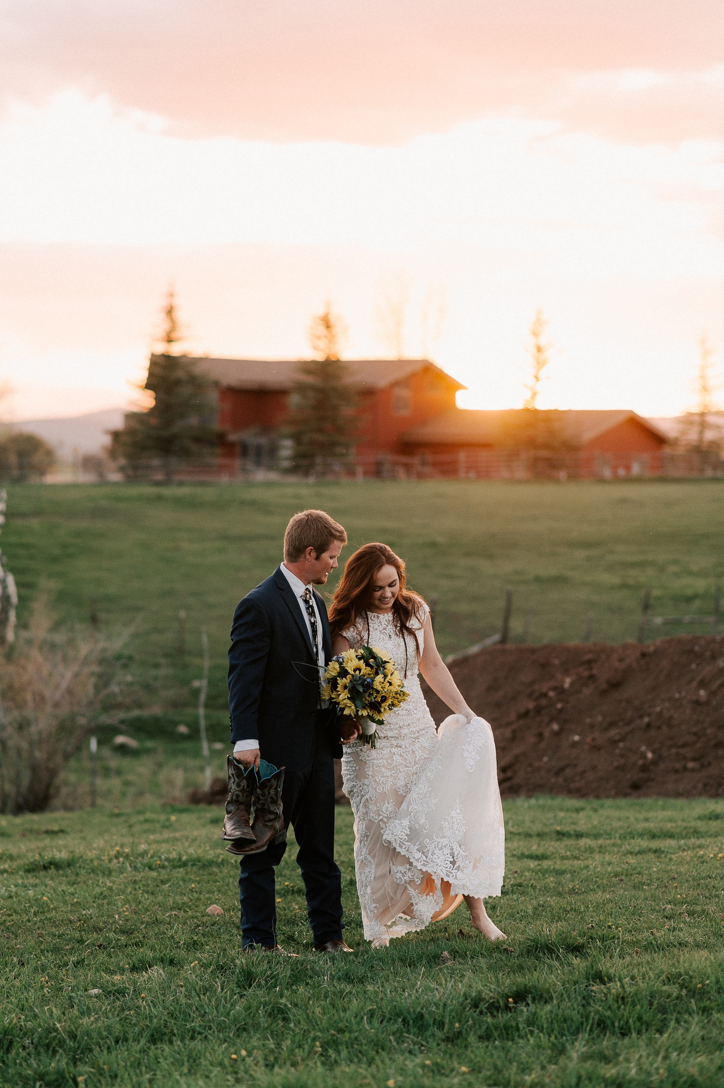 Sunflower Wedding Bouquet Cowboy Boots Ranch Tew Treasures Photography 2