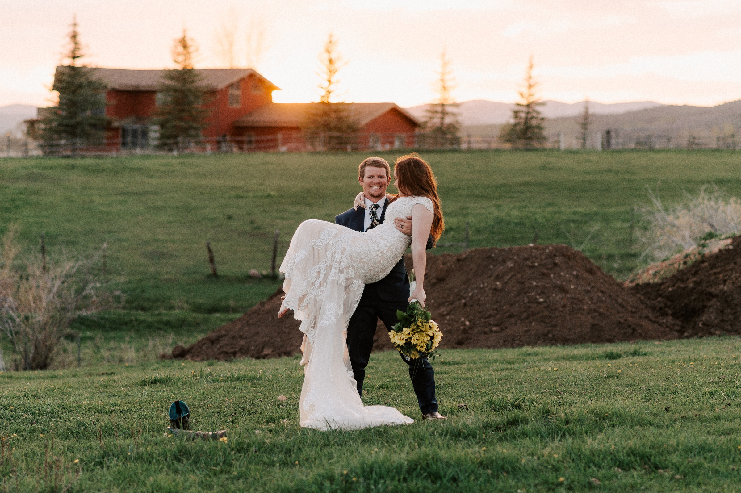 Sunflower Wedding Bouquet Cowboy Boots Ranch Tew Treasures Photography 3