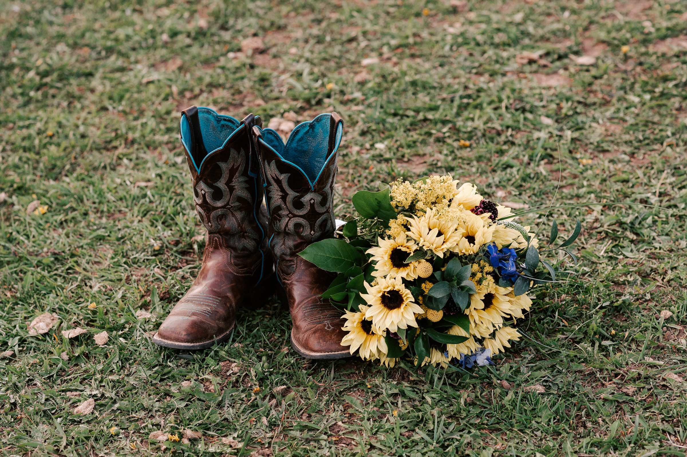 Sunflower Wedding Bouquet Cowboy Boots Ranch Tew Treasures Photography