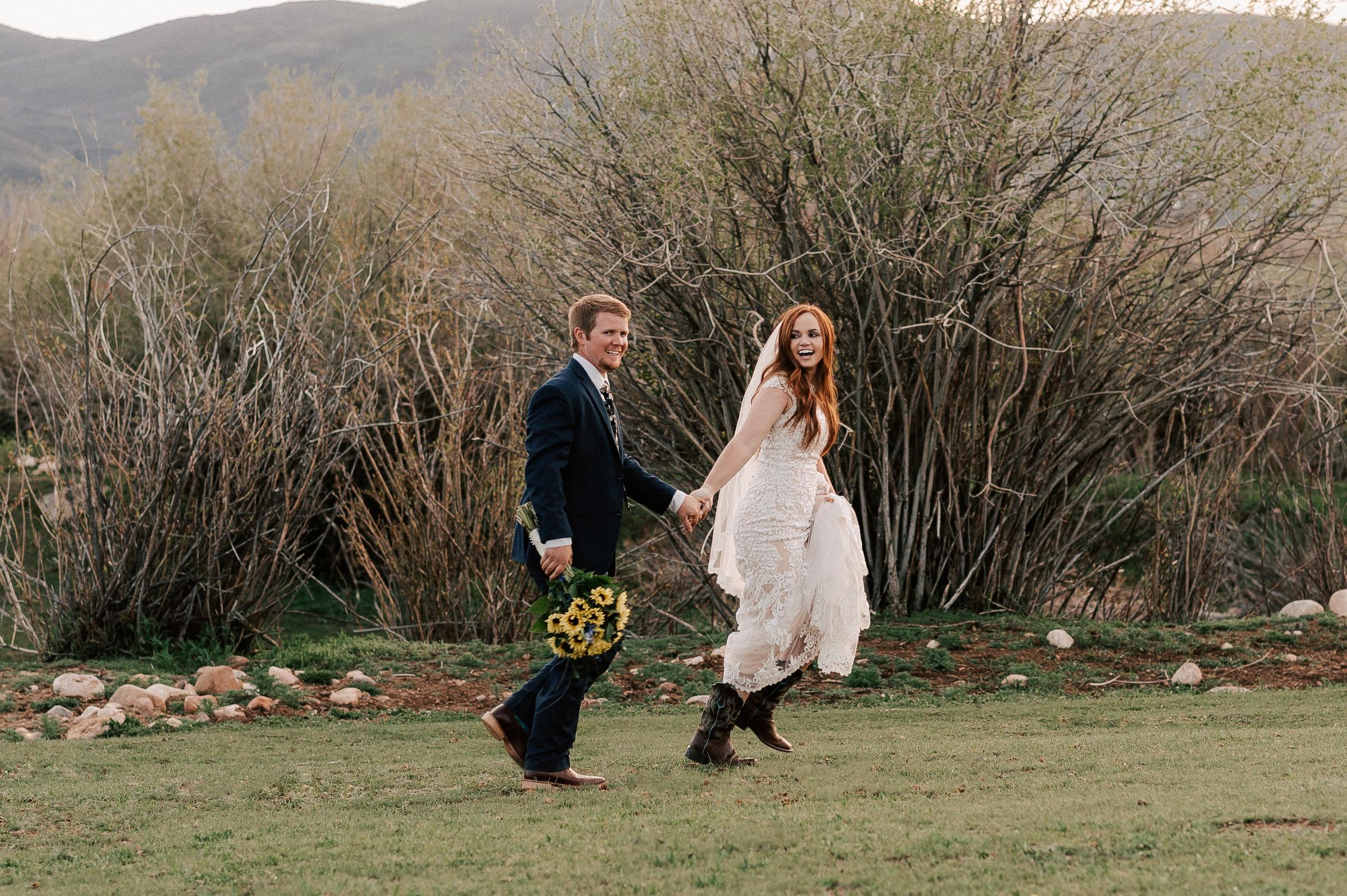 Wedding Dress Cowboy Boots Horse Ranch Tew Treasures Photography 1
