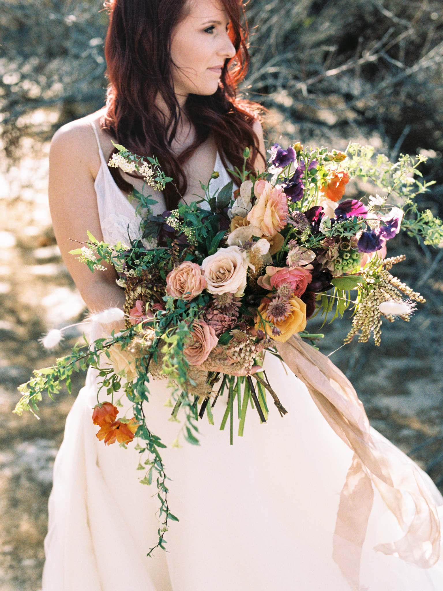 Wild Organic Textural Wedding Bouquet Floral Installation The Potted Pansy Rooted Willow 1