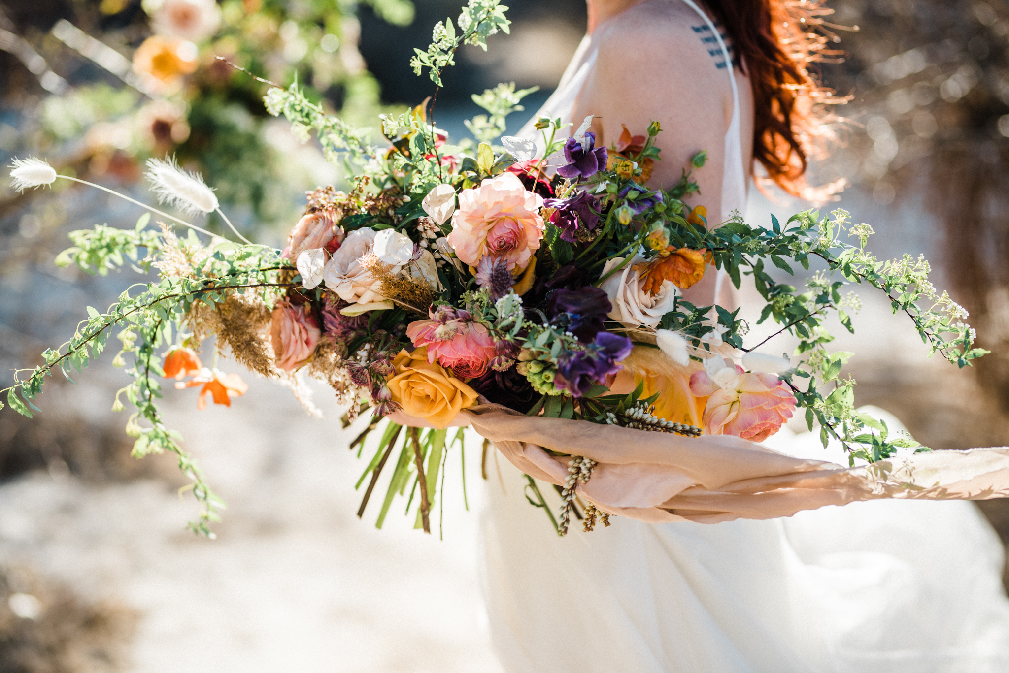 Wild Organic Textural Wedding Bouquet Floral Installation The Potted Pansy Rooted Willow 10