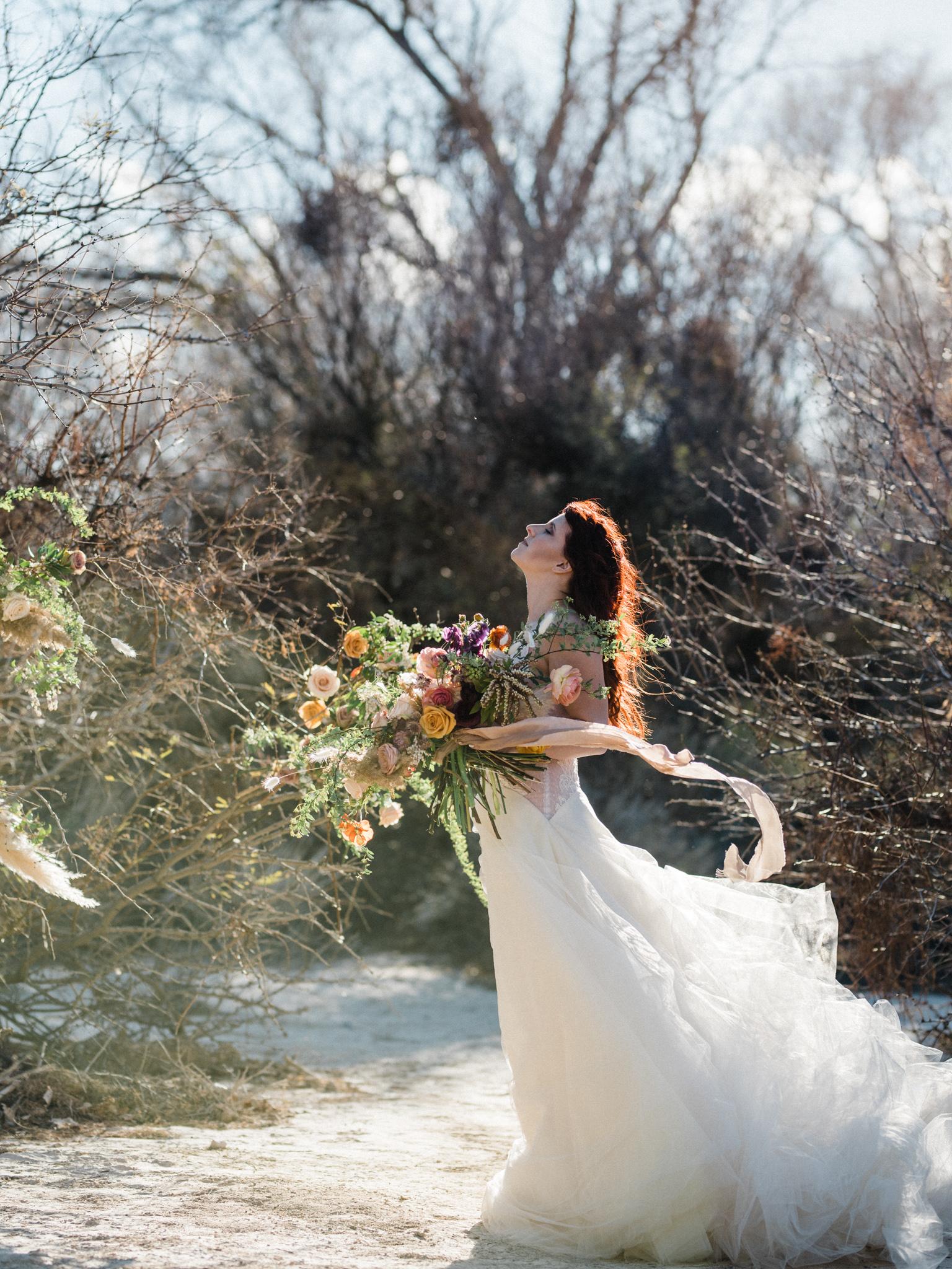 Wild Organic Textural Wedding Bouquet Floral Installation The Potted Pansy Rooted Willow 11