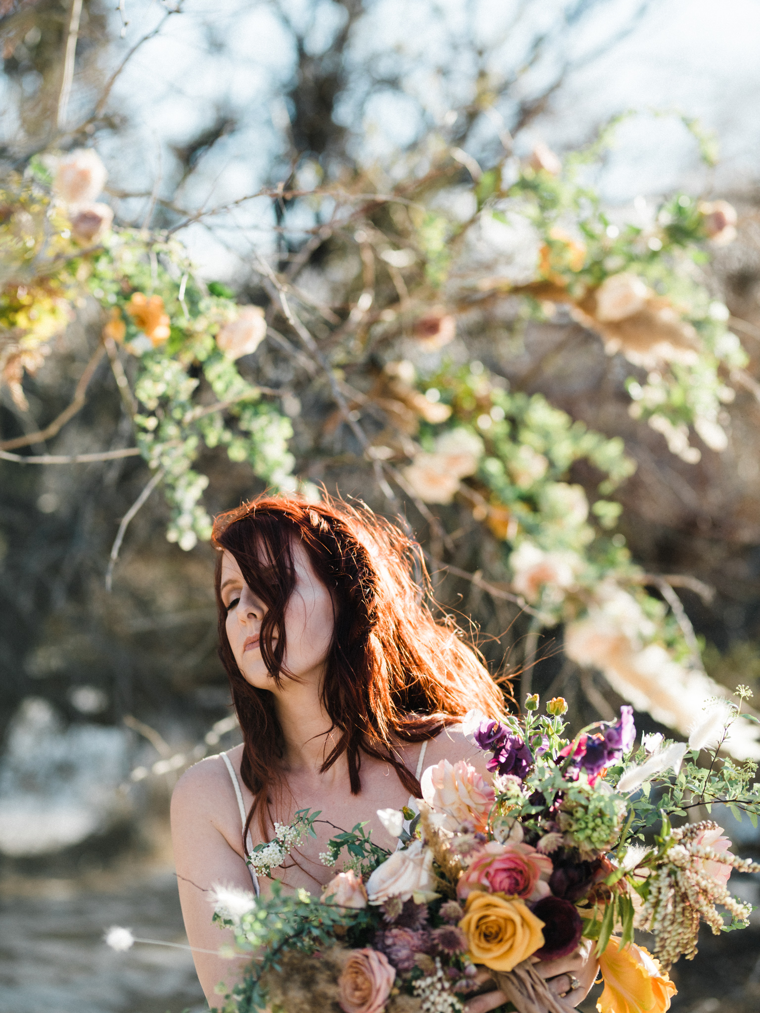Wild Organic Textural Wedding Bouquet Floral Installation The Potted Pansy Rooted Willow 14