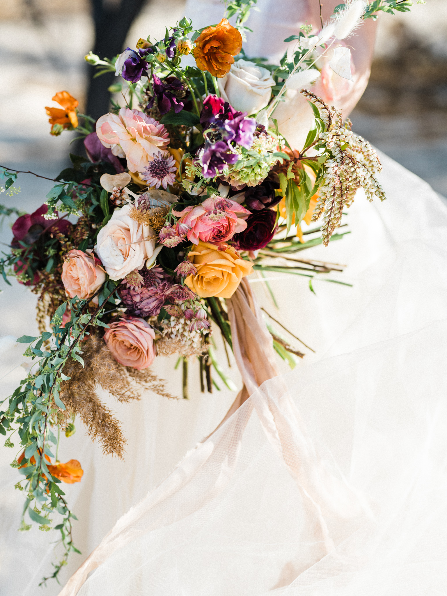 Wild Organic Textural Wedding Bouquet Floral Installation The Potted Pansy Rooted Willow 18