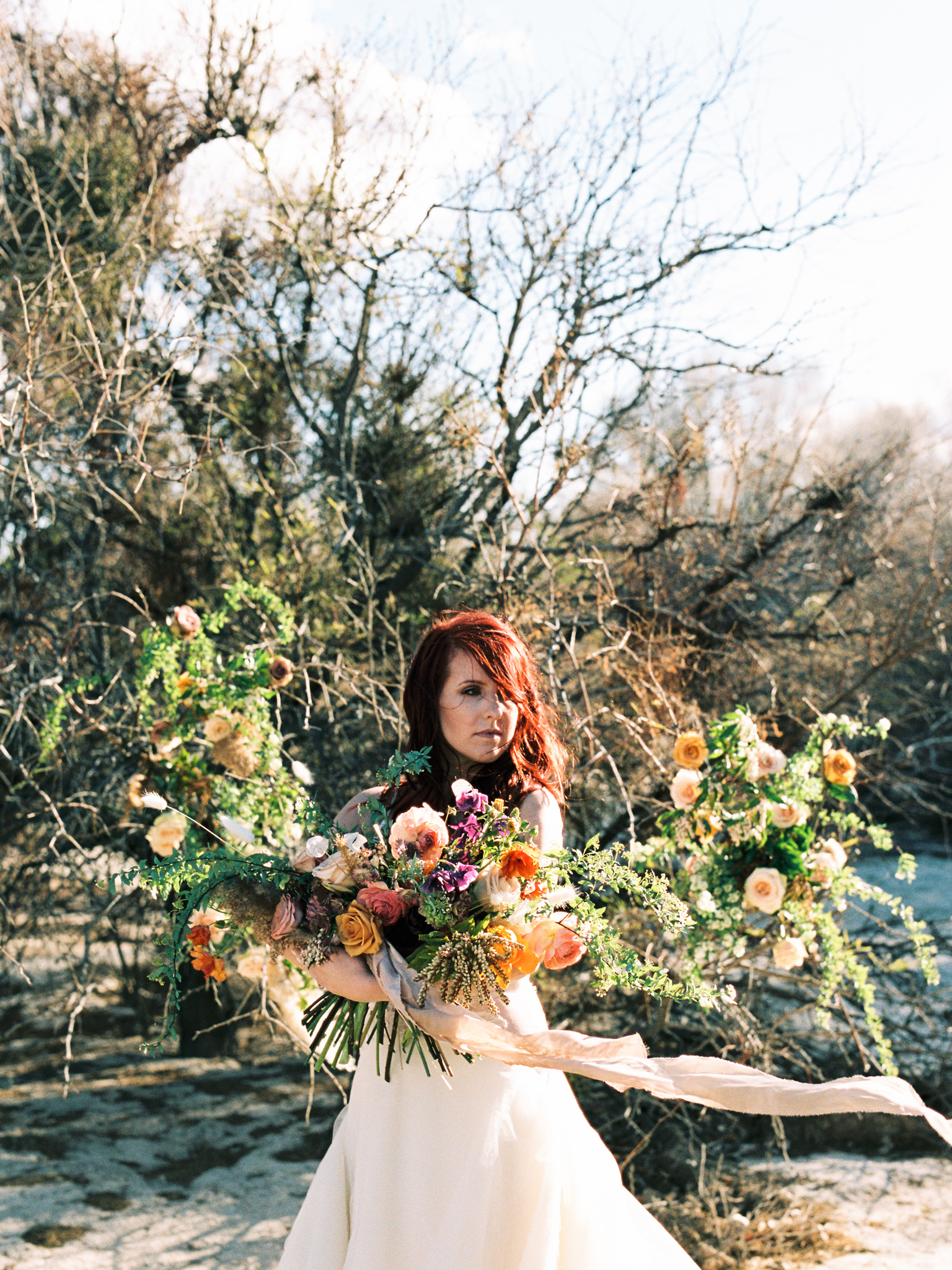 Wild Organic Textural Wedding Bouquet Floral Installation The Potted Pansy Rooted Willow 20