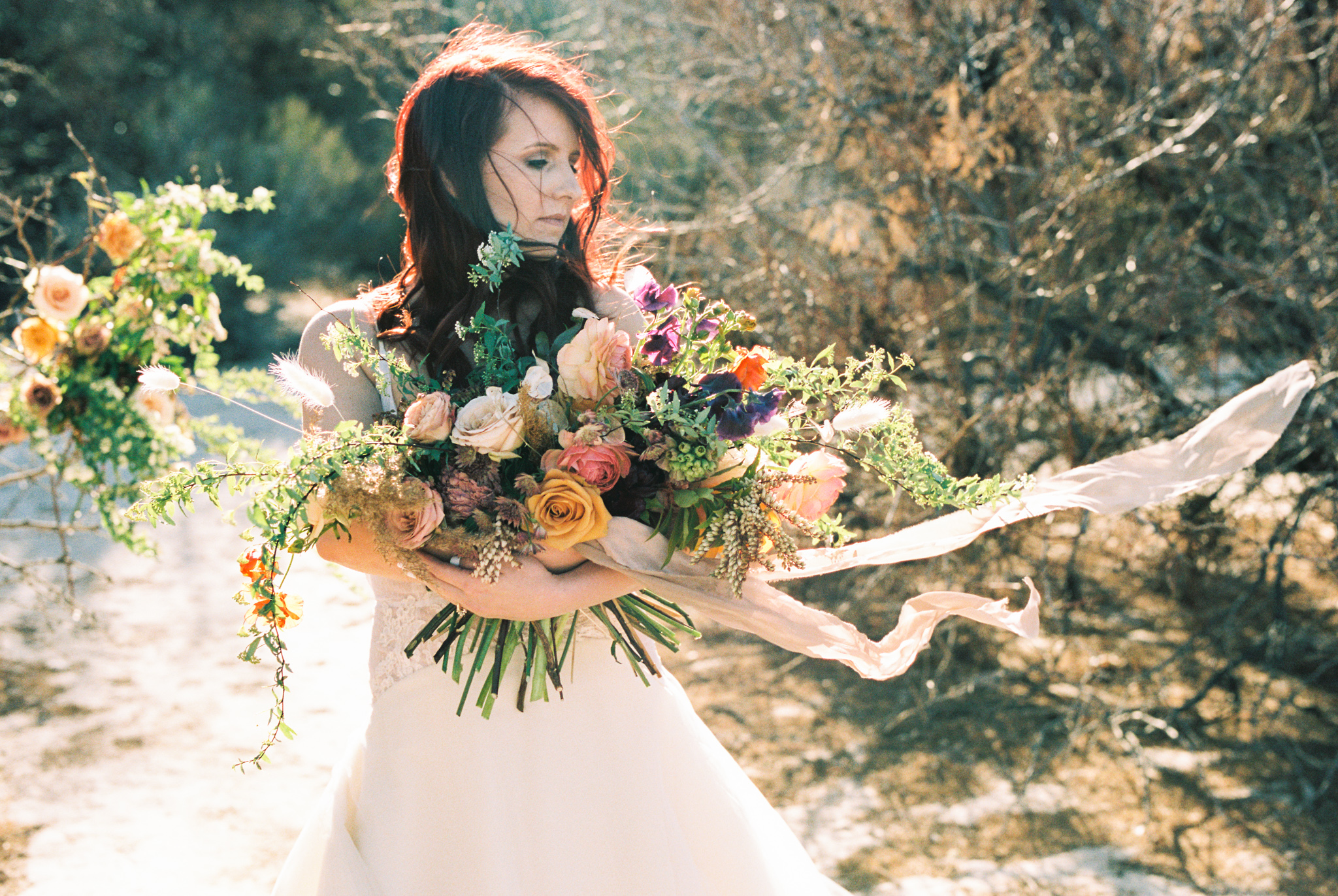 Wild Organic Textural Wedding Bouquet Floral Installation The Potted Pansy Rooted Willow 21