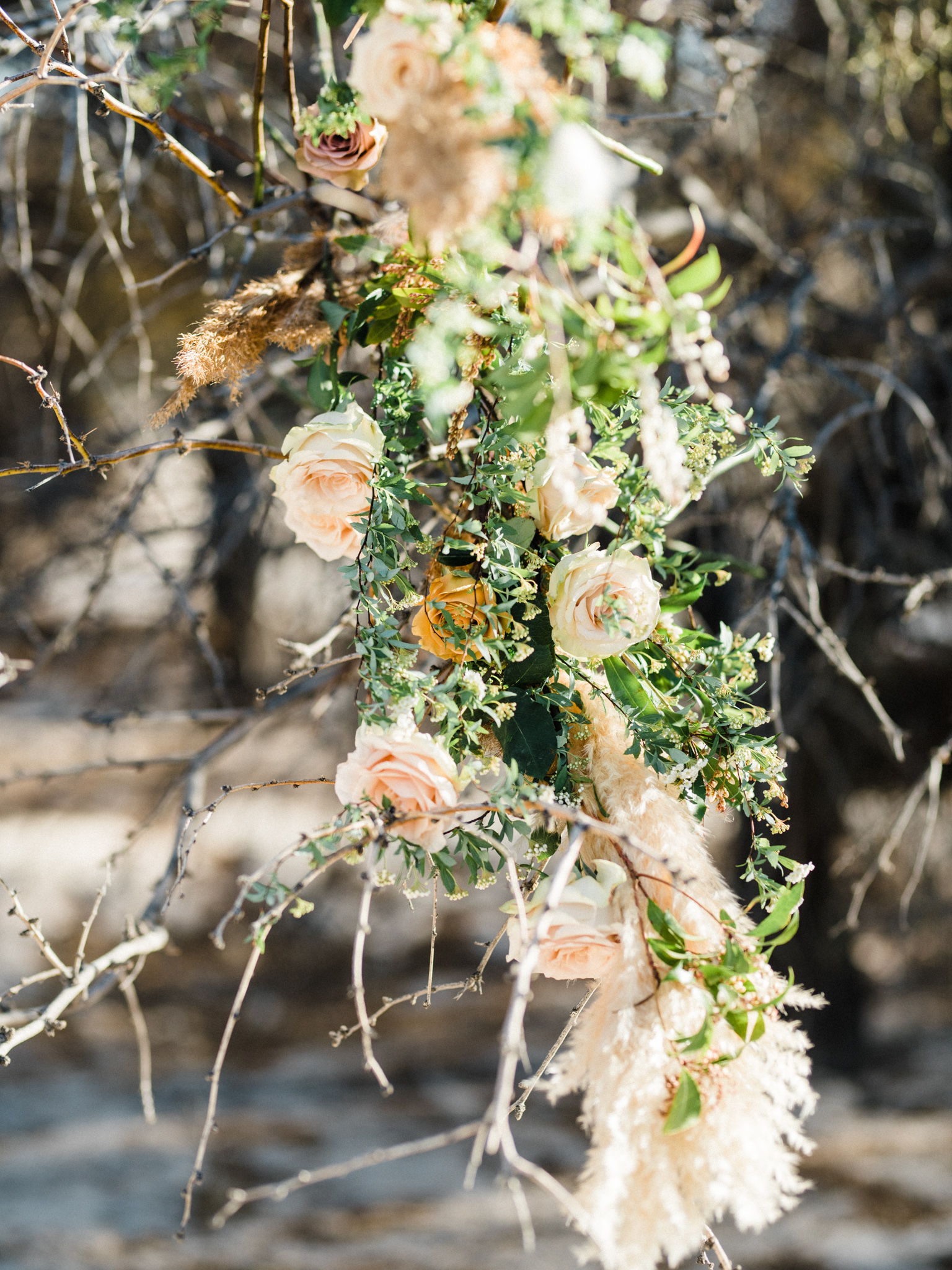 Wild Organic Textural Wedding Bouquet Floral Installation The Potted Pansy Rooted Willow 22