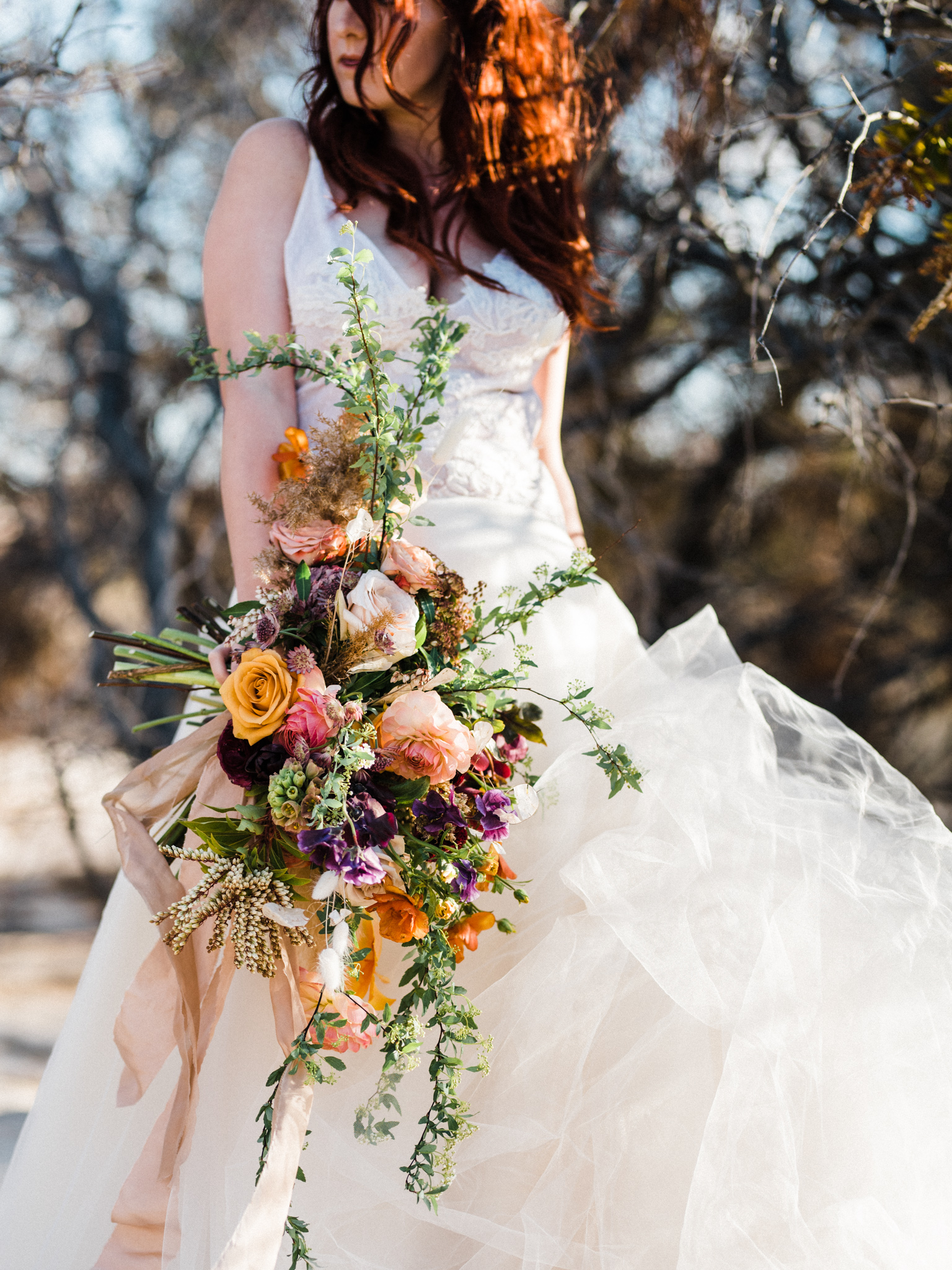 Wild Organic Textural Wedding Bouquet Floral Installation The Potted Pansy Rooted Willow 23