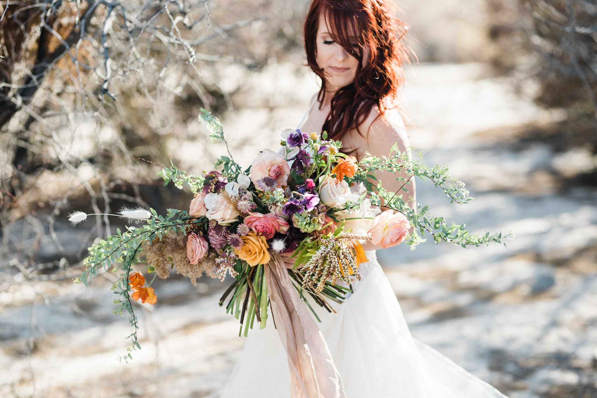 Wild Organic Textural Wedding Bouquet Floral Installation The Potted Pansy Rooted Willow 4