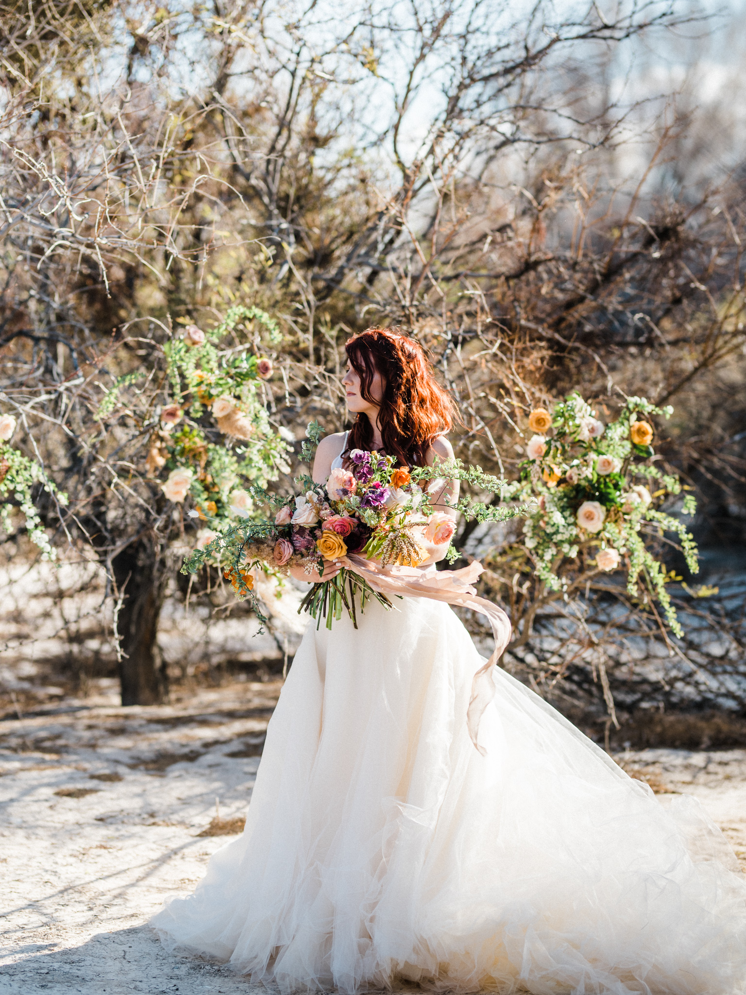 Wild Organic Textural Wedding Bouquet Floral Installation The Potted Pansy Rooted Willow 6