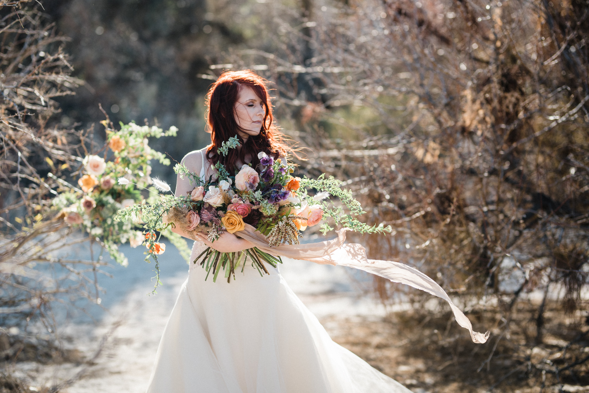 Wild Organic Textural Wedding Bouquet Floral Installation The Potted Pansy Rooted Willow 7