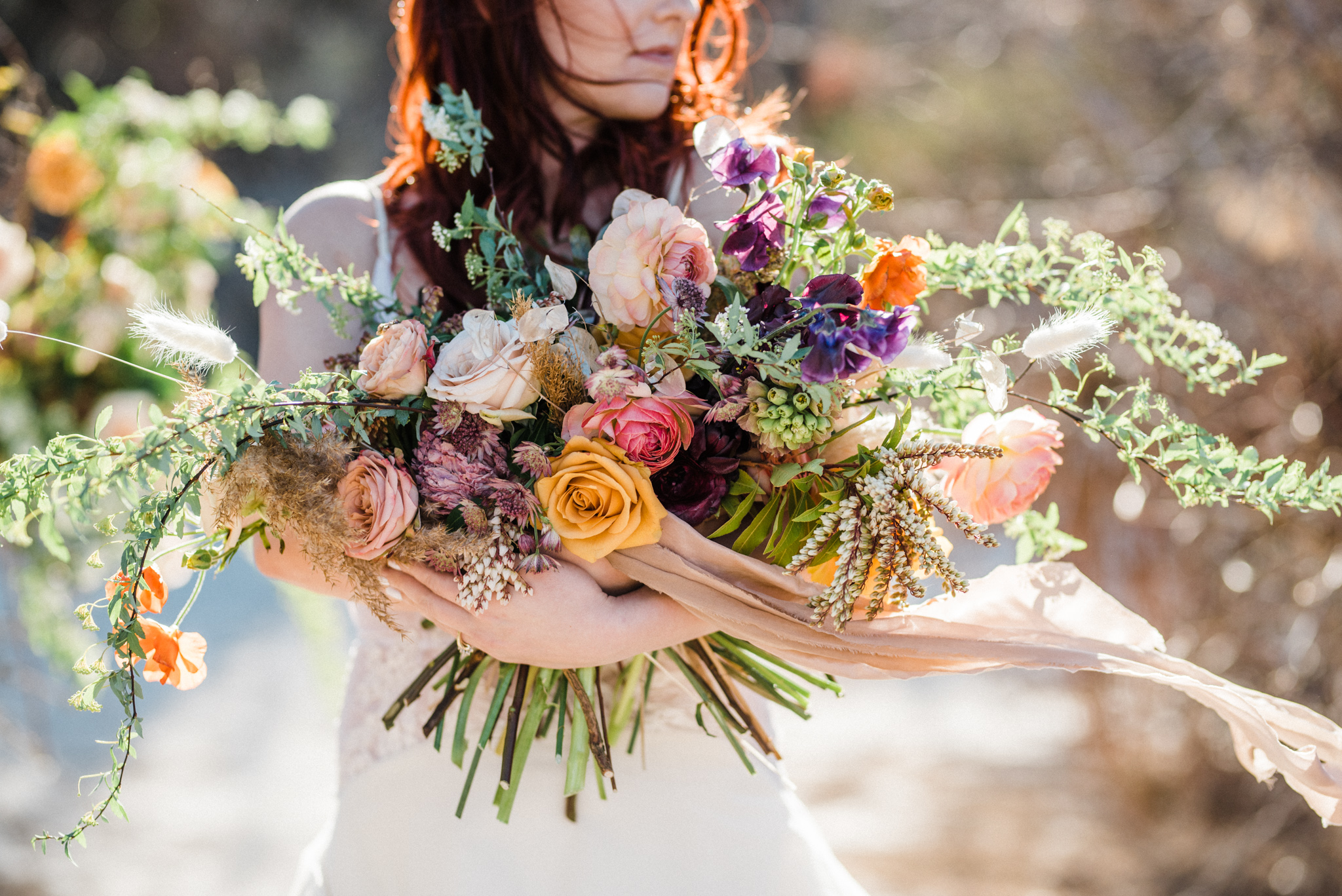 Wild Organic Textural Wedding Bouquet Floral Installation The Potted Pansy Rooted Willow 8