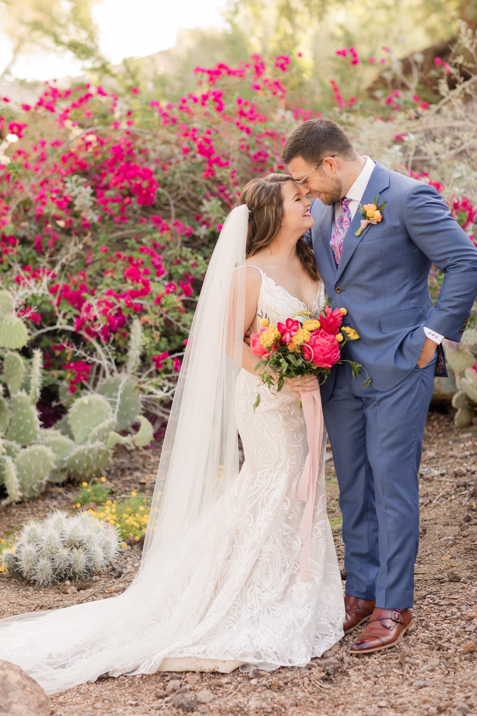 Bold Colorful Wedding Bouquet Bougainvillea Peonies Citrus Desert Pure In Art Photography