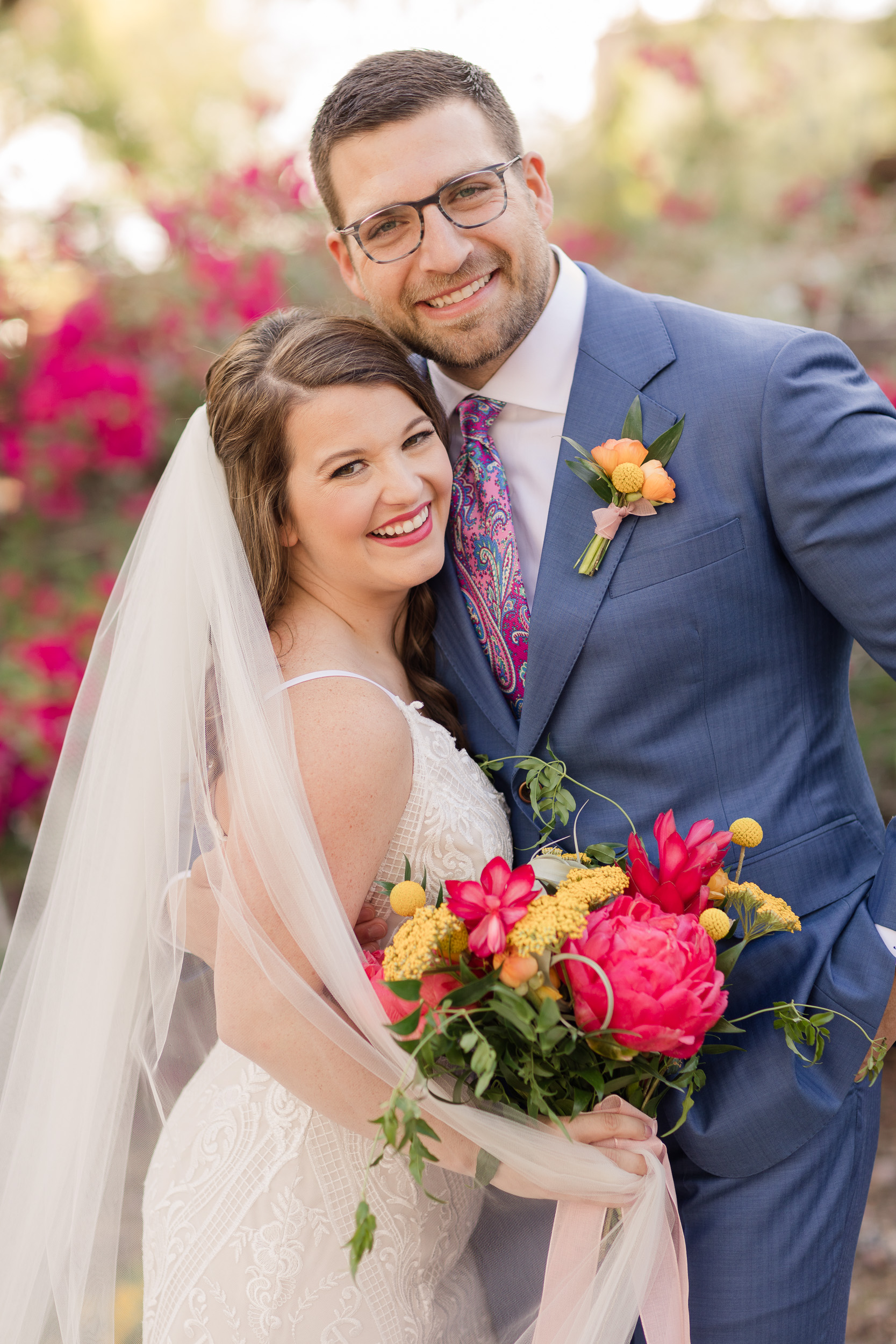 Bold Colorful Wedding Bouquet Peonies Citrus Desert Pure In Art Photography 1