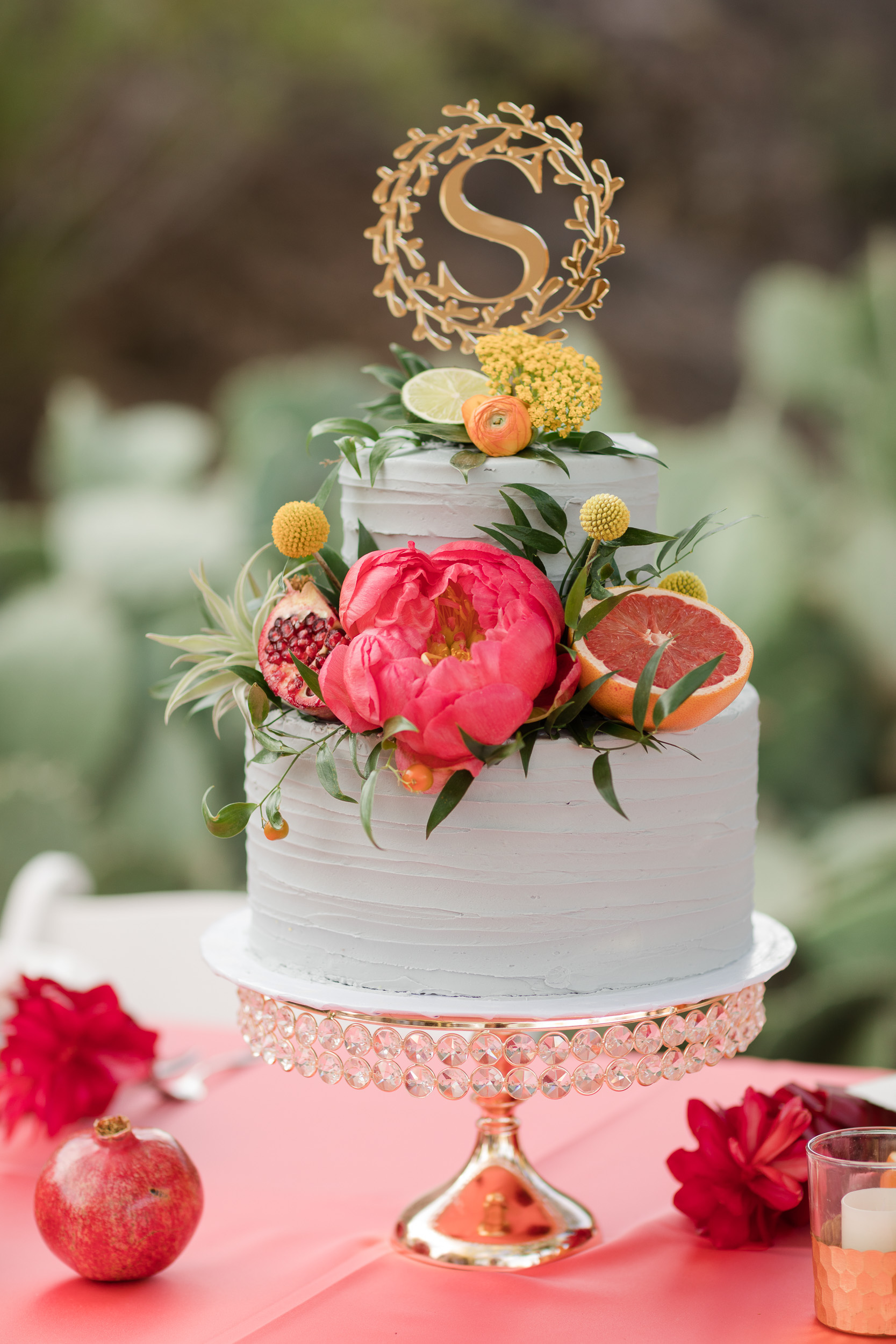 Citrus Floral Mini Teal Wedding Cake Pure In Art Photography 1
