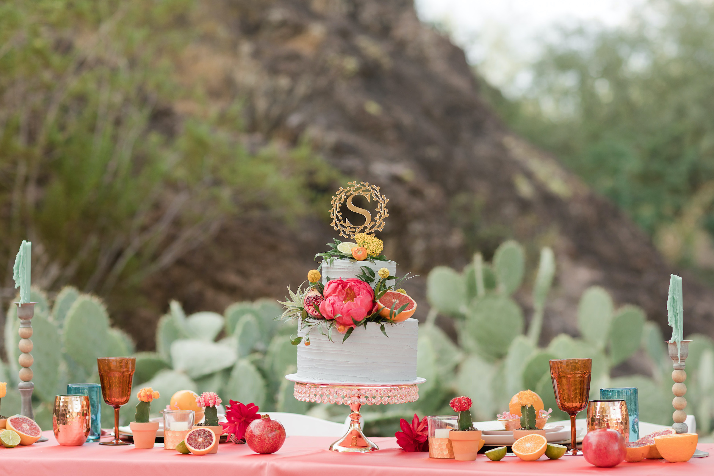Citrus Floral Mini Teal Wedding Cake Pure In Art Photography 2