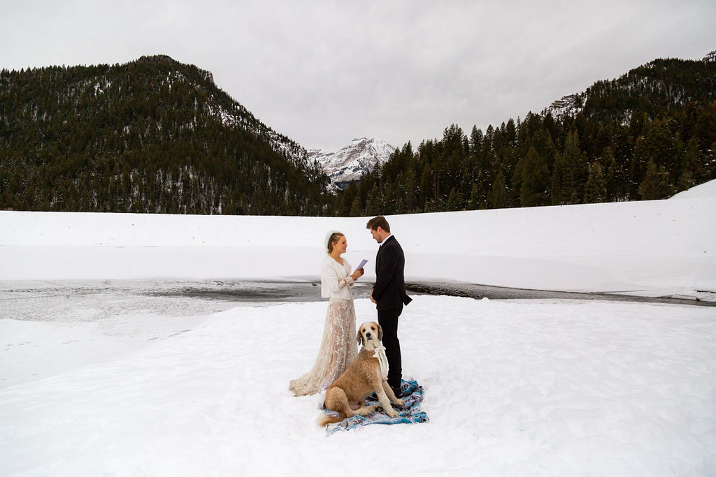 Bridal Fur Jacket Winter Snowy Wasatch Mountain Elopement Halie West Photography 2