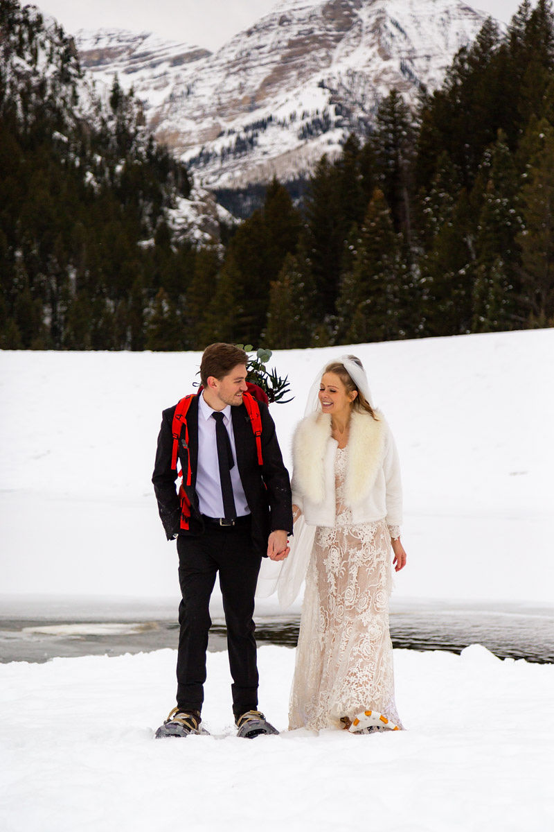 Bridal Fur Jacket Winter Snowy Wasatch Mountain Elopement Halie West Photography 7
