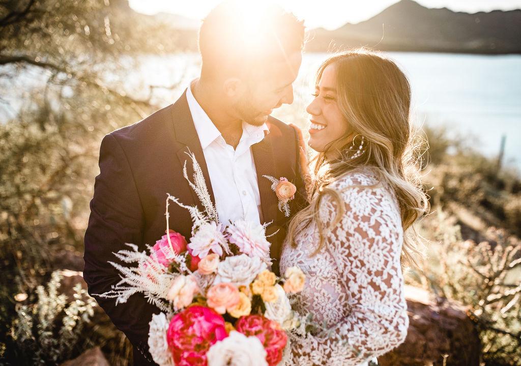 Bright Bold Desert Bouquet Long Sleeve Wedding Dress Aimee Flynn Photo 2jpg