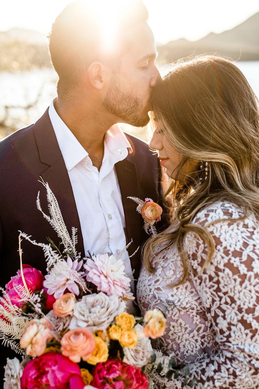 Bright Bold Desert Bouquet Long Sleeve Wedding Dress Aimee Flynn Photo 3