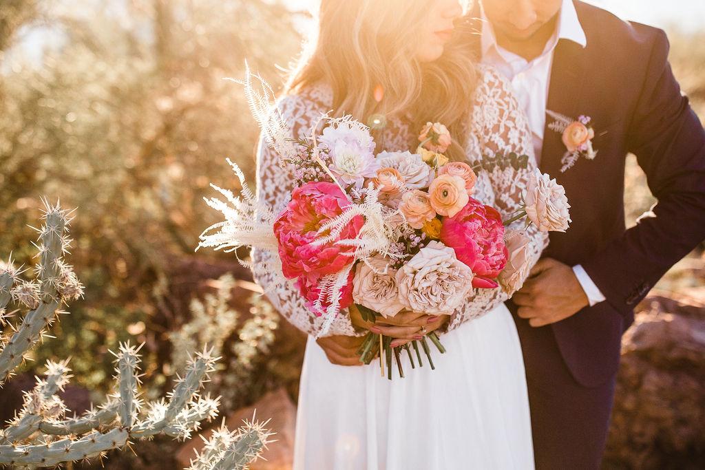 Bright Bold Desert Bouquet Long Sleeve Wedding Dress Aimee Flynn Photo