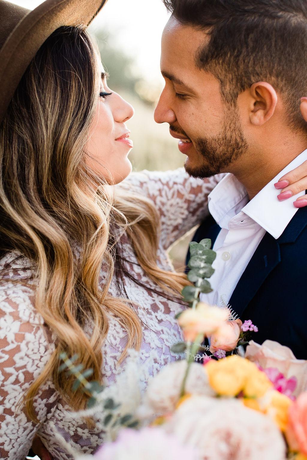 Bright Colorful Desert Oasis Elopement Arizona Long Sleeve Lace Wedding Dress Aimee Flynn Photo10